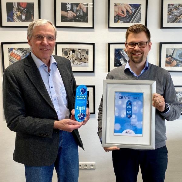Verleihung Zertifikat Blauer Strom Blaue Wärme KW Energie